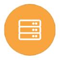 Stacked servers on orange icon
