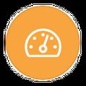 speedometer on orange icon
