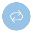 Looping arrows on blue icon