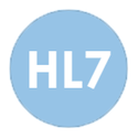 HL7 in bold on blue icon