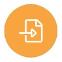 Paper with arrow on orange icon