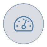 speedometer on grey icon