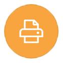 Printer on orange icon