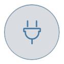Power plug on grey icon