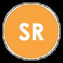 SR in bold on orange icon