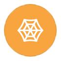Spiderweb on orange icon