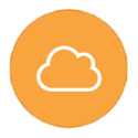 Cloud outline on orange icon