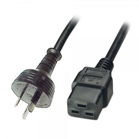 EcoRay 5 Metre Powercord, Australian Male 10A to IEC C-19