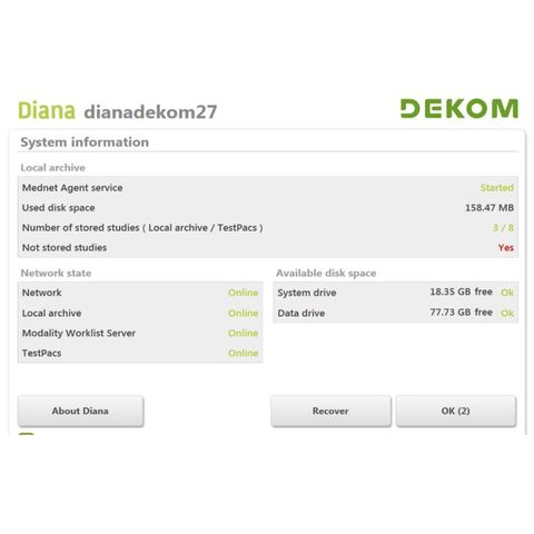 DEKOM DIANAdicom SD Video Capture to DICOM System