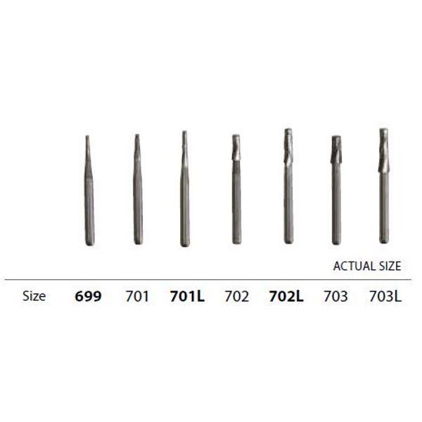 Inovadent™ Tapered Fissure Bur #702, FG, 19 mm - Carbide 5-Pack