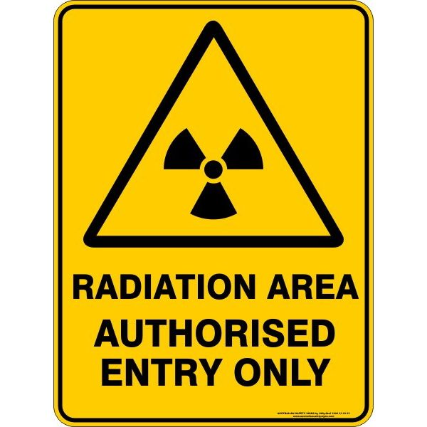 Radiation Area Authorised Entry Only Sign - Plastic - 225 x 300mm