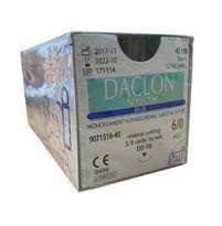 Suture, 6/0 Daclon Nylon, Black, Reverse Cutting, 3/8 circle 16mm, 45cm