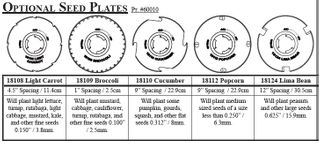 Earthway Optional Seed Plates for Precision Seeder