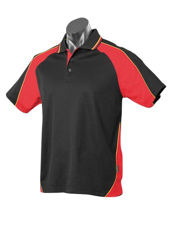 MENS PANORAMA POLO BLACK/RED/GOLD S