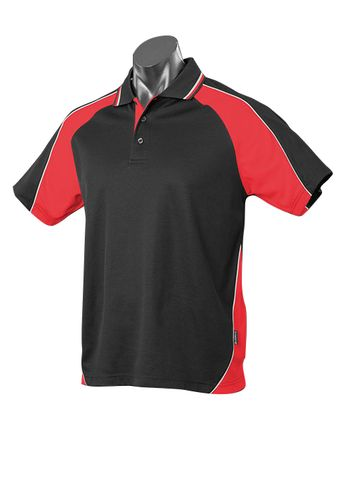 MENS PANORAMA POLO BLACK/RED/WHITE S