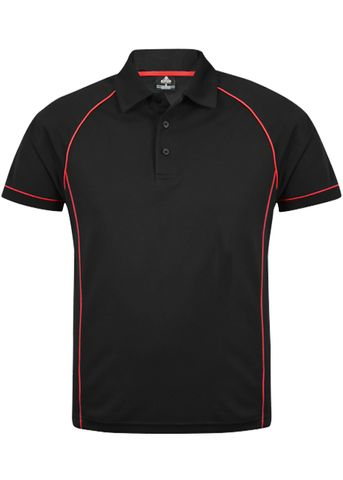 MENS ENDEAVOUR POLO BLACK/RED S