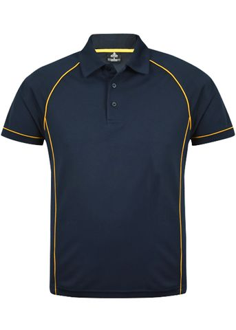 MENS ENDEAVOUR POLO NAVY/GOLD S