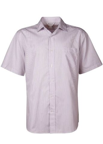 MENS HENLEY SHORT SLEEVE WHITE/PURPLE XXS