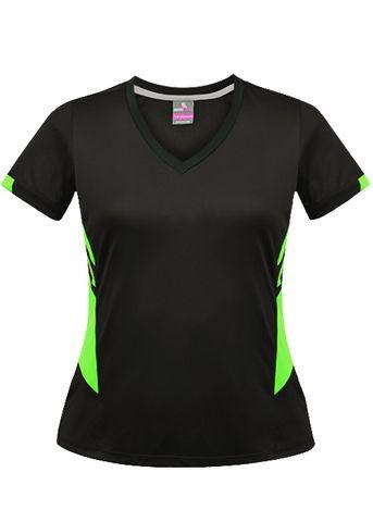 LADY TASMAN TEE BLACK/NEON GREEN 8