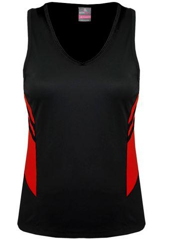LADY TASMAN SINGLET BLACK/RED 8