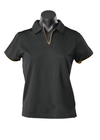 LADY YARRA POLO BLACK/GOLD 8-10