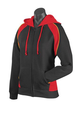 LADY PANORAMA ZIP HOOD BLACK/RED/GOLD 8