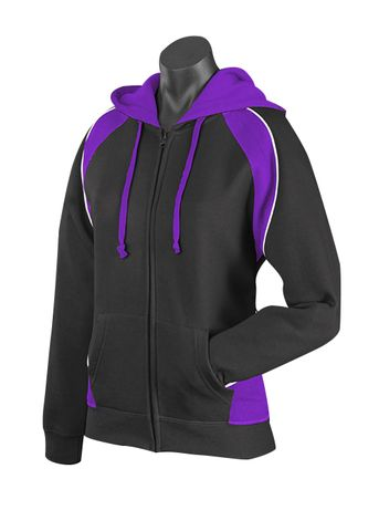 LADY PANORAMA ZIP HOOD BLACK/PURPLE/WHITE 8