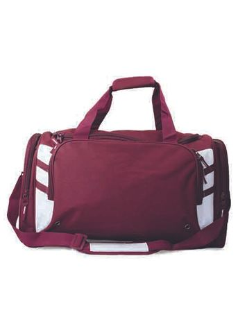 TASMAN SPORTS BAG MAROON/WHITE