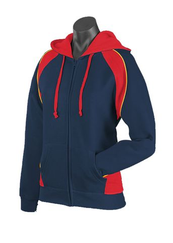LADY PANORAMA ZIP HOOD NAVY/RED/GOLD 8