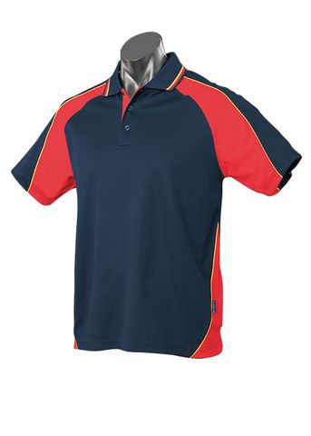 MENS PANORAMA POLO NAVY/RED/GOLD S