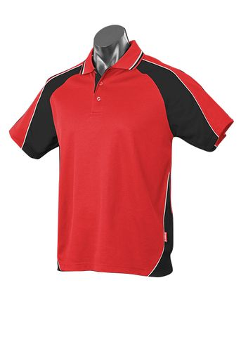 MENS PANORAMA POLO RED/BLACK/WHITE S