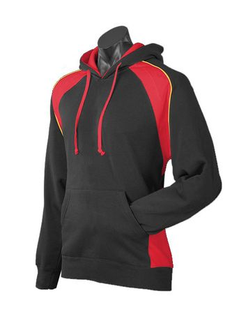 MENS HUXLEY HOOD BLACK/RED/GOLD XS