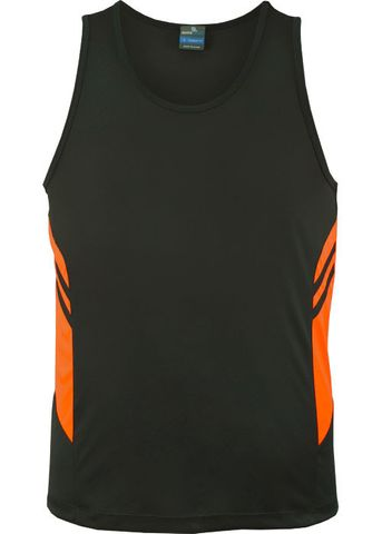 MENS TASMAN SINGLET SLATE/NEON ORANGE S