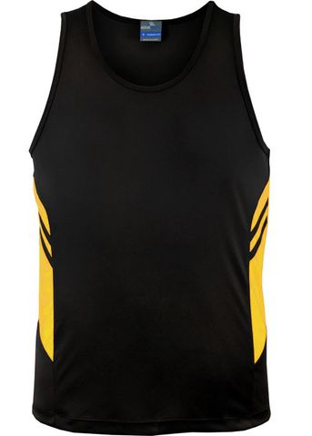 MENS TASMAN SINGLET BLACK/GOLD S