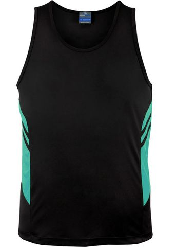 MENS TASMAN SINGLET BLACK/TEAL S
