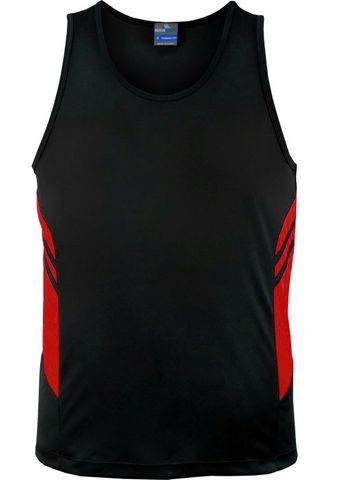 MENS TASMAN SINGLET BLACK/RED S