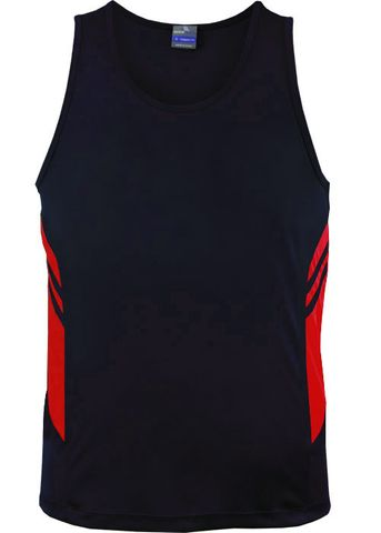 MENS TASMAN SINGLET NAVY/RED S