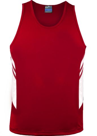 MENS TASMAN SINGLET RED/WHITE S