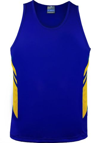 MENS TASMAN SINGLET ROYAL/GOLD S