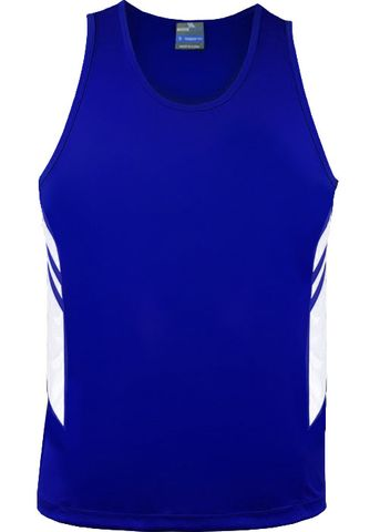 MENS TASMAN SINGLET ROYAL/WHITE S