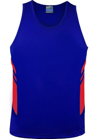MENS TASMAN SINGLET ROYAL/RED S