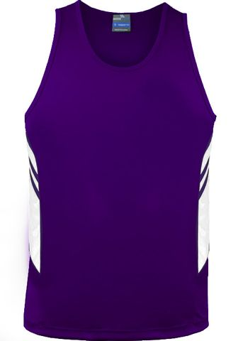 MENS TASMAN SINGLET PURPLE/WHITE S
