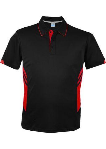 MENS TASMAN POLO BLACK/RED S