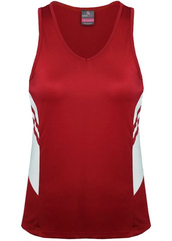 LADY TASMAN SINGLET RED/WHITE 8