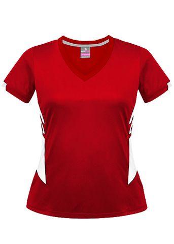 LADY TASMAN TEE RED/WHITE 8