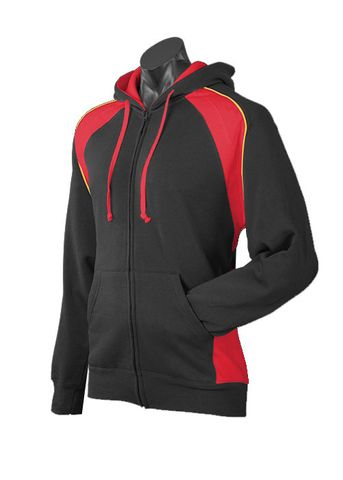 MENS PANORAMA ZIP HOOD BLACK/RED/GOLD S