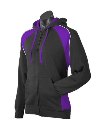 MENS PANORAMA ZIP HOOD BLACK/PURPLE/WHITE S