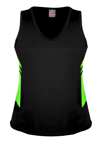 LADY TASMAN SINGLET BLACK/NEON GREEN 8