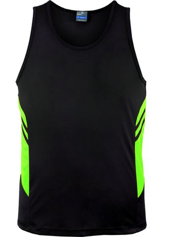 MENS TASMAN SINGLET BLACK/NEON GREEN S