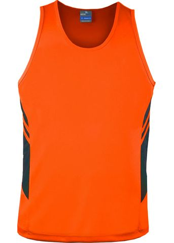 MENS TASMAN SINGLET NEON ORANGE/SLATE S